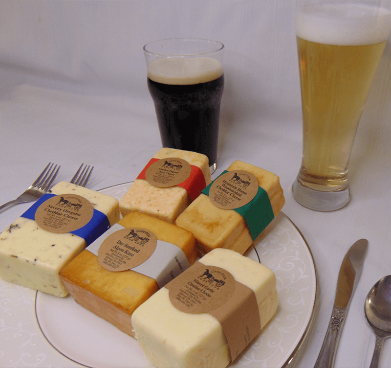 Beer pairing with smoked alpen, mild garlic and oregano cheddar, garden pepper jack