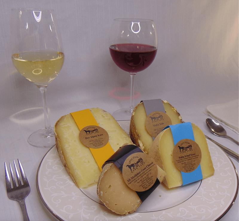 Wine Pairing with Der Alpen, Felsa Yehr, Butta Schaf and Goat cheese